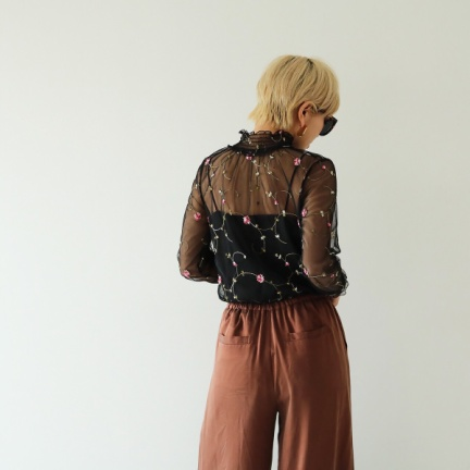 TODAYFUL(トゥデイフル) |Flower Sheer Blouse