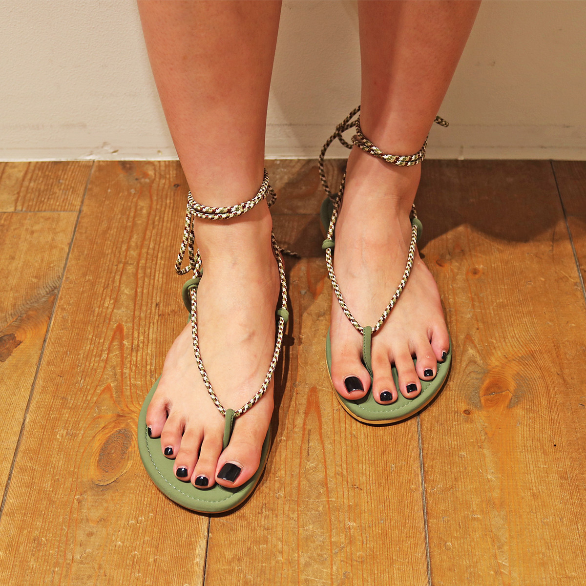 Cord Lace-up Sandals