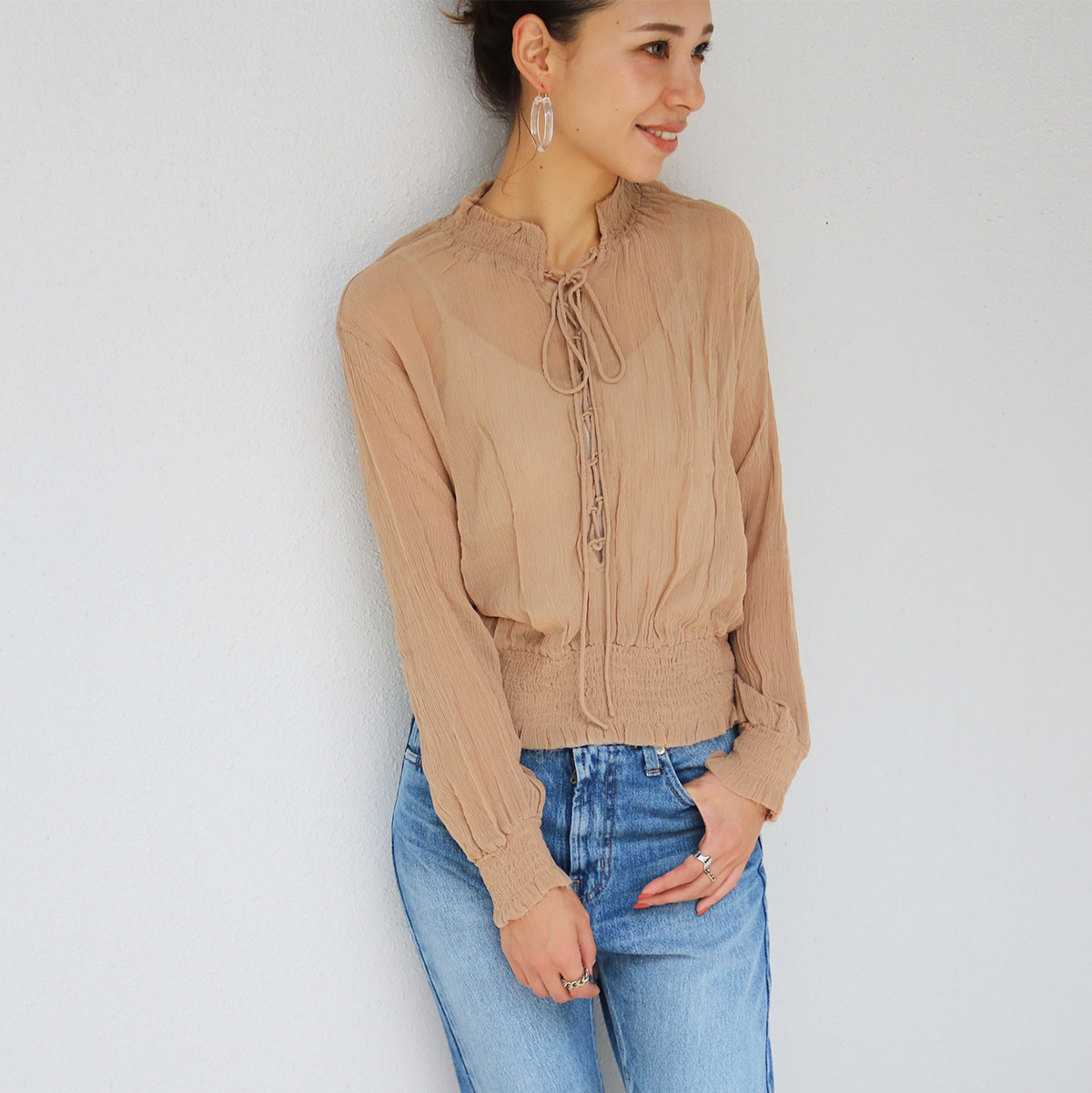 Lace-up Chiffon Blouse
