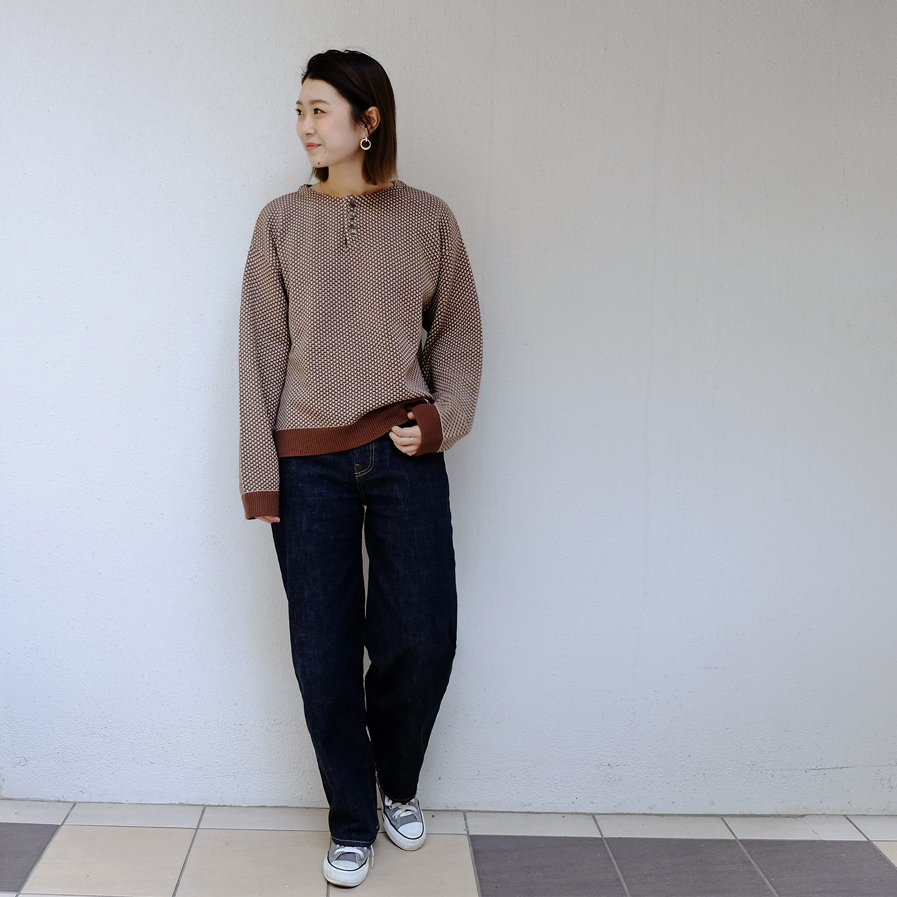 Henleyneck Loose Knit
