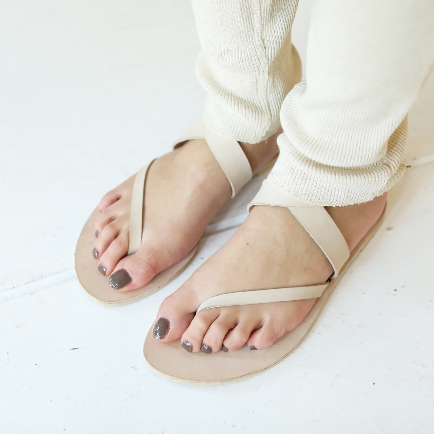 Slanting Leather Sandals