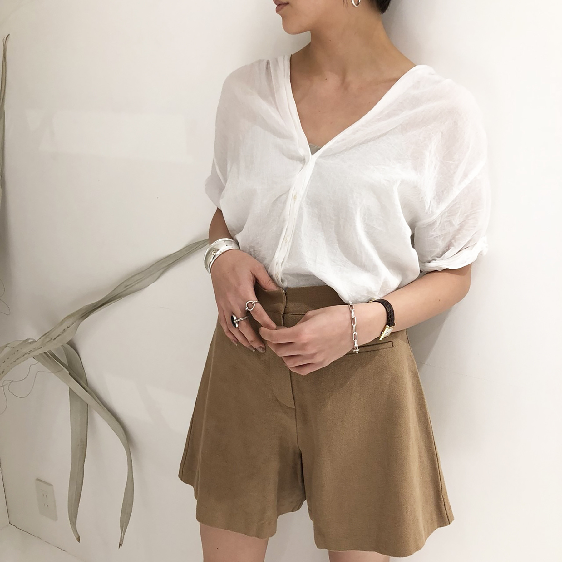 Collarless Voile Shirts