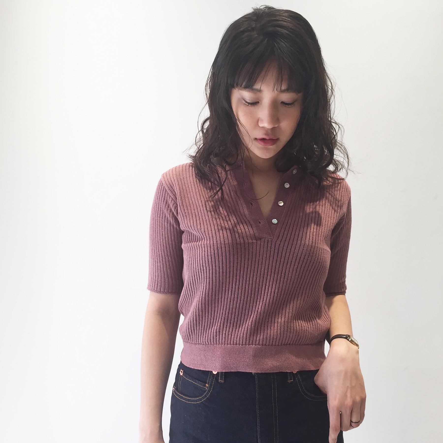 Henleyneck Sheer Knit