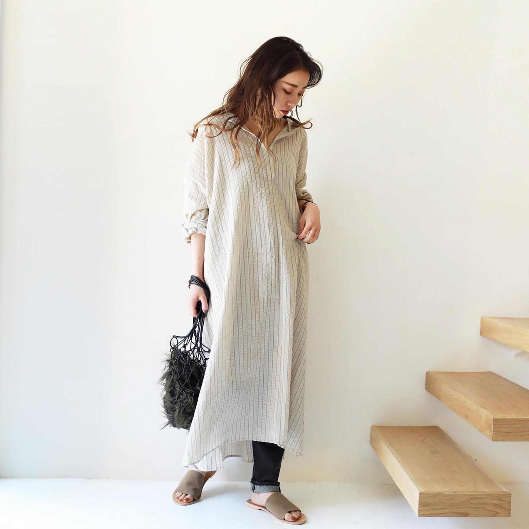 Stripe Keyneck Dress