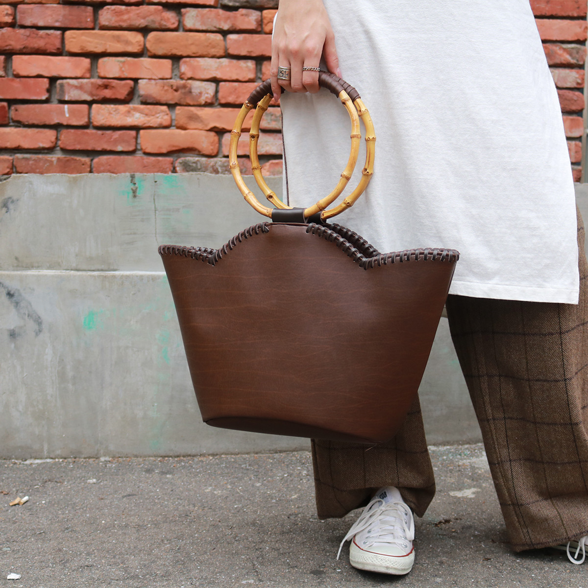 Woodhandle Leather Bag