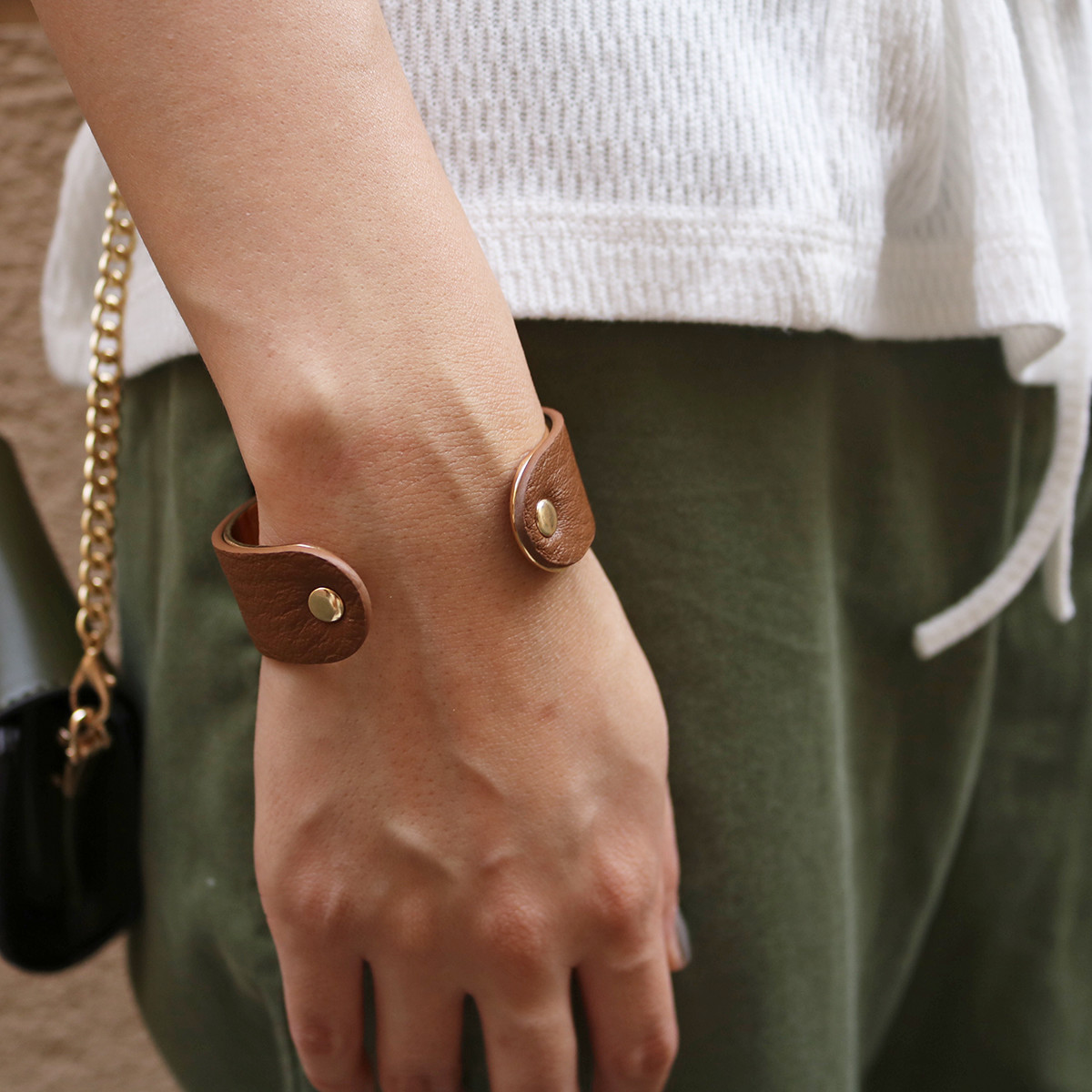 Leather x Metal Bangle